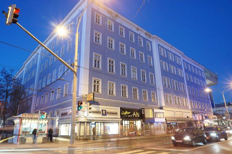 Äußere Mariahilfer Straße: Im Blauen Haus waren viele Geschäfte. (Foto: 2019)
