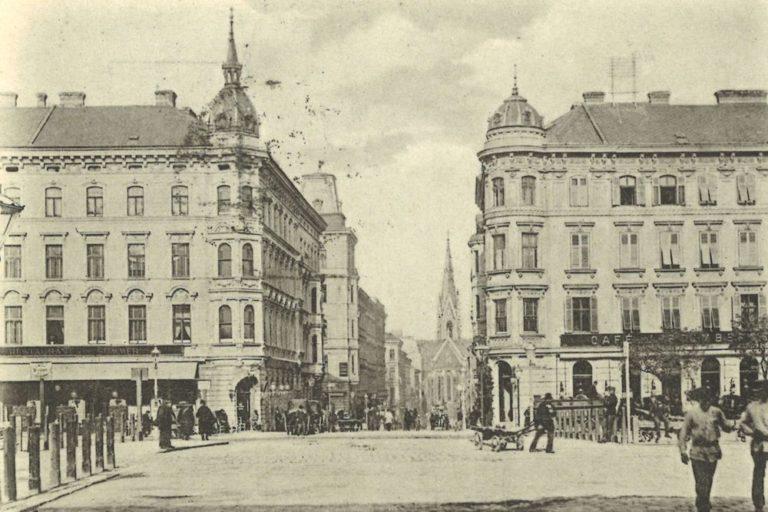 alte Aufnahme der Häuser Wiedner Gürtel 18 und 20, Argentinierstraße, Wien, Elisabethkirche, schwarz-weiß, Personen, Gründerzeit