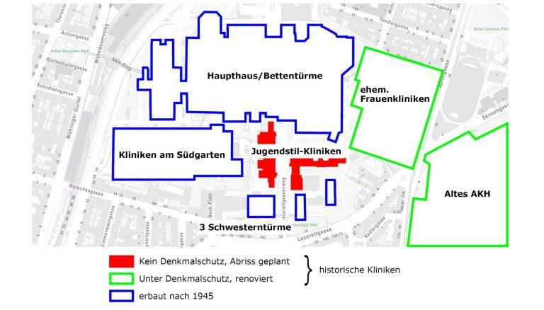 Plan des Wiener AKH