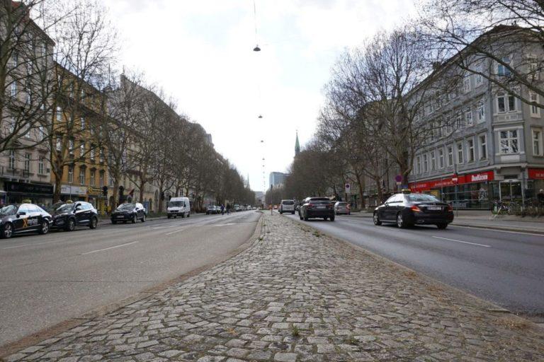 Praterstraße Richtung Innere Stadt, vorne Stephansdom