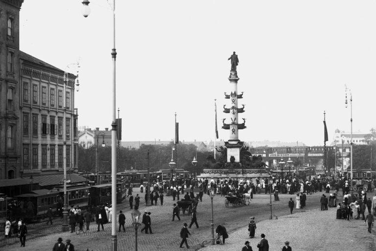 alte Aufnahme einer Straße, Jugendstil, Laternen, Denkmal, Leopoldstadt, Prater, Wien