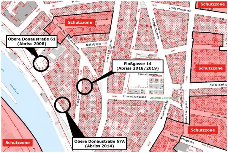 Karte mit abgerissenen Häusern in der Floßgasse und Oberen Donaustraße in Wien-Leopoldstadt
