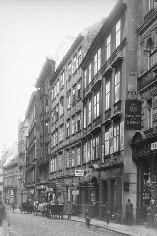 Wollzeile, Fuhrwerke, Wien, Innere Stadt, historische Aufnahme