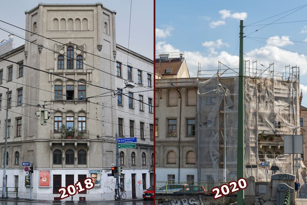 neugotisches Wohnhaus in Wien, vor und nach dem Teilabriss, Radetzkystraße, Dampfschiffstraße, 3. Bezirk