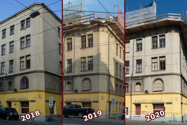 Teilabriss des Wohnhauses Radetzkystraße 24-26, Obere Weißgerberstraße, Wien-Landstraße