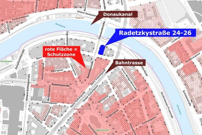Karte mit Schutzzone bei der Radetzkystraße, 1030 Wien, Flächenwidmungsplan