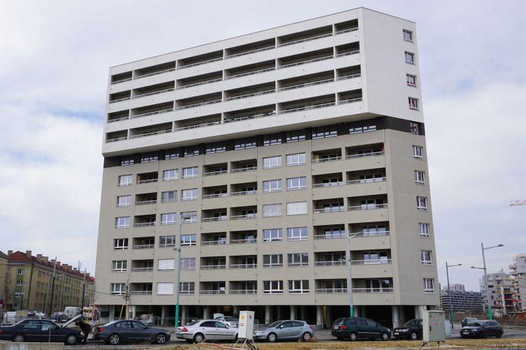 Neubau-Wohnhaus, Gudrunstraße, Sonnwendgasse, Sonnwendviertel, Helmut-Zilk-Park, Wien-Favoriten