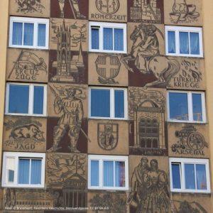 Kunstwerk, Sgraffito, Landgutgasse 1 in Wien-Favoriten, Nähe Hauptbahnhof, 2017 zerstört