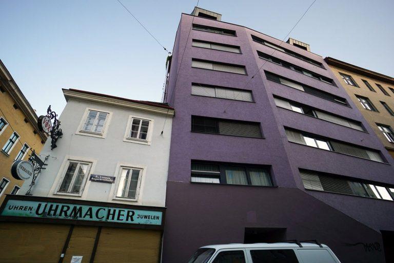 kleiner Altbau und violetter Neubau