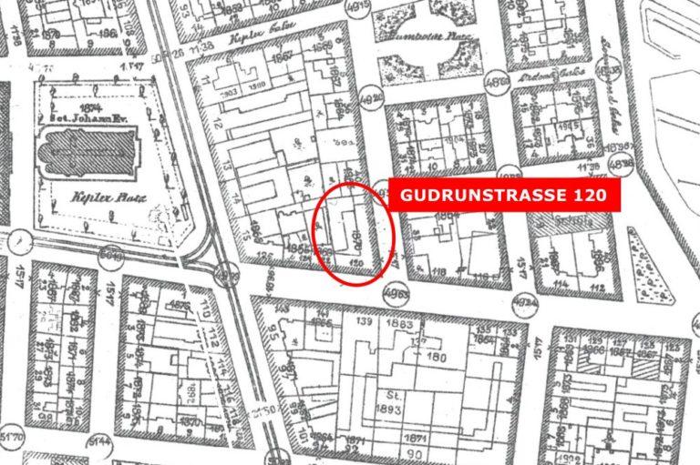 "alte Karte der Gudrunstraße, hervorgehoben ""Gudrunstraße 120"", Generalstadtplan, Wien, Favoriten"