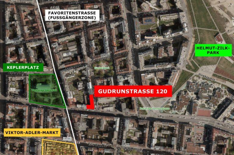 Satellitenbild, Gudrunstraße 120, Keplerplatz, Viktor-Adler-Markt, Favoritenstraße, Helmut-Zilk-Park