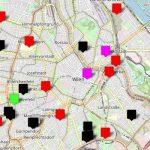 Stadtplan mit Markierungen