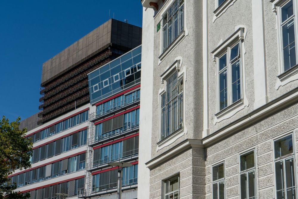 drei Gebäude des Wiener AKH