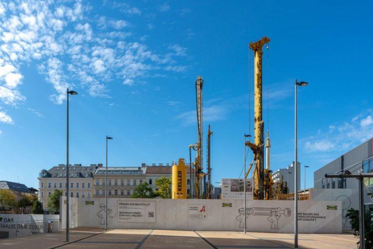 Baustelle, IKEA, nach Abriss des blauen Hauses, Baumaschinen