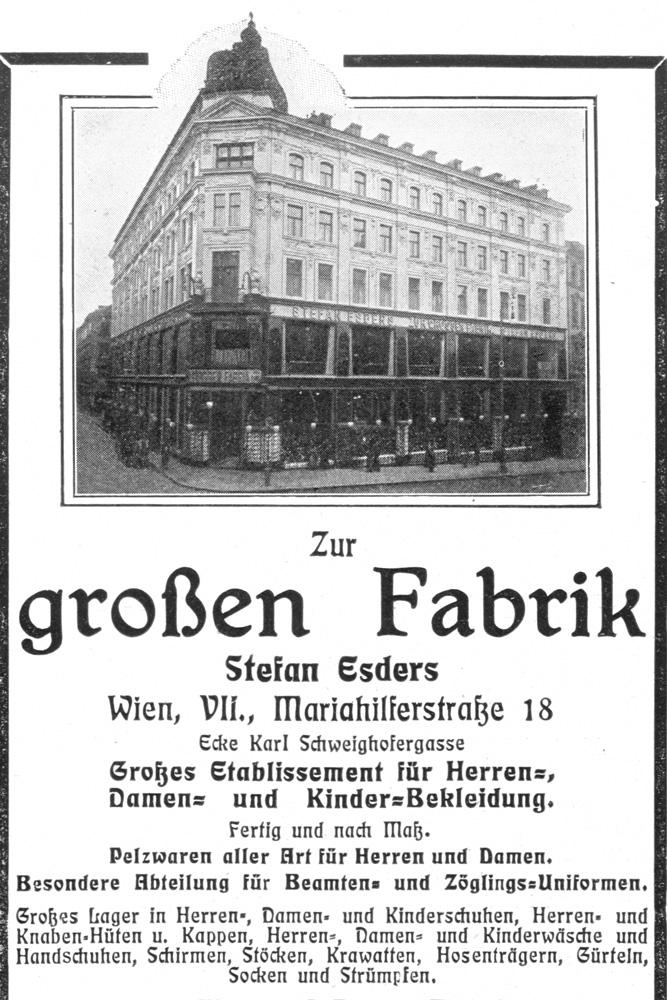 """Warenhaus """"Zur großen Fabrik"""", Stefan Esders, Mariahilfer Straße 18, historische Reklame, Kaufhaus, 1070 Wien"""