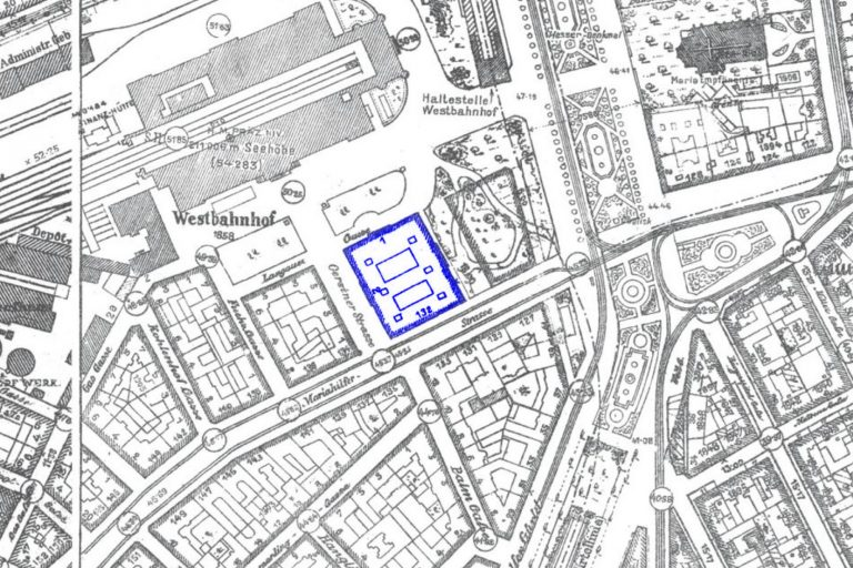 alter Stadtplan von Rudolfsheim-Fünfhaus