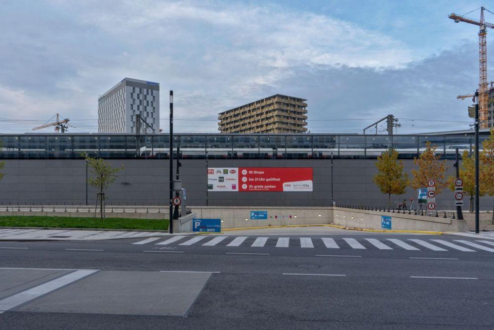 Garageneinfahrt beim Wiener Hauptbahnhof