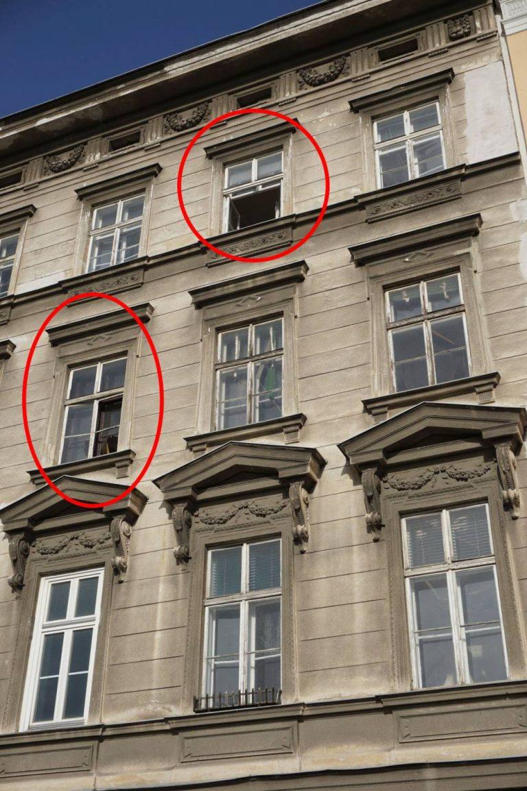 Hetzgasse 8, renovierungsbedürftiges Gründerzeithaus mit offenen Fenstern in Wien