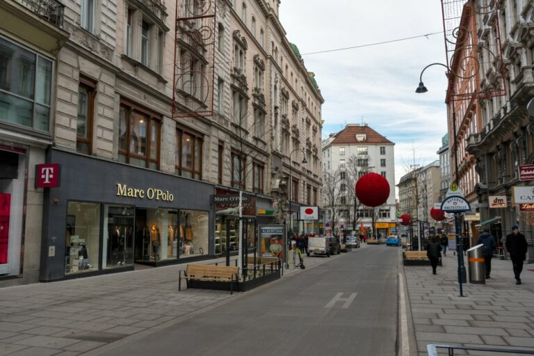 Rotenturmstraße im Winter 2019, nach dem Umbau zur Begegnungszone