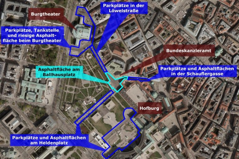 Karte mit Infos zum öffentlichen Raum zwischen Burgtheater, Ballhausplatz und Hofburg/Heldenplatz
