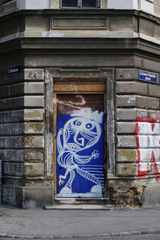 Graffiti am Haus Hetzgasse 8, Wien-Landstraße