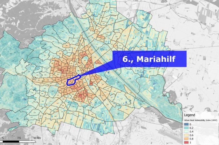 Hitzekarte für Wien, 6. Bezirk hervorgehoben