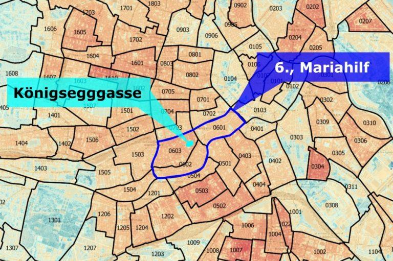 Hitzekarte für Wien, hervorgehoben sind der 6. Bezirk und die Königsegggasse