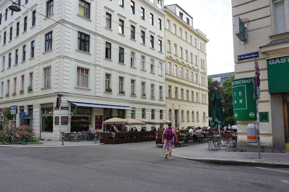 Königsegggasse, Otto-Bauer-Gasse, Café Jelinek, vor dem Umbau zur Fußgängerzone, Wien-Mariahilf