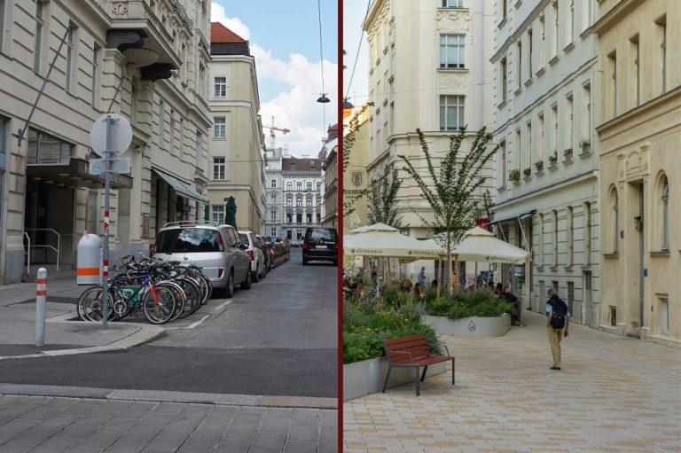 Königsegggasse vor und nach dem Umbau zur Fußgängerzone, 6. Bezirk, Wien