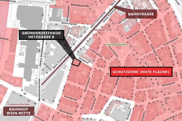 Plan der Schutzzone im Radetzkyviertel und Weißgerberviertel, 2016