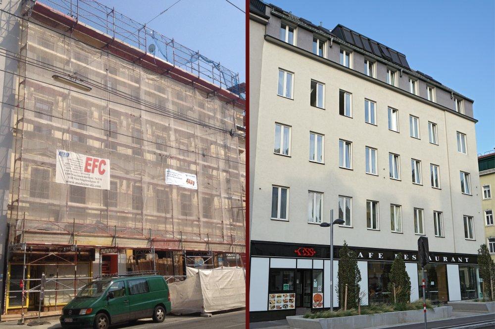 Gründerzeithaus Favoritenstraße 129 vor und nach dem Umbau, 1100 Wien