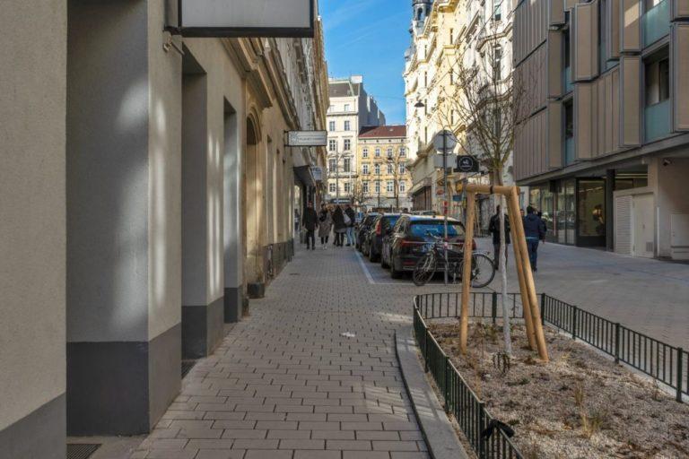 Otto-Bauer-Gasse nach dem Umbau zur Begegnungszone, Parkplätze, Bäume, Fußgänger