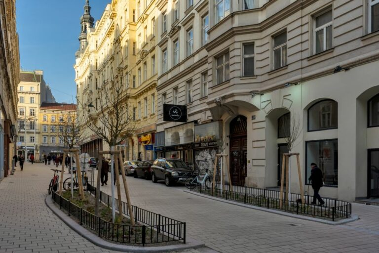 Begegnungszone in der Otto-Bauer-Gasse, Bäume, Pflasterung, PKW, Fußgänger, nahe Mariahilferstraße, 1060 Wien