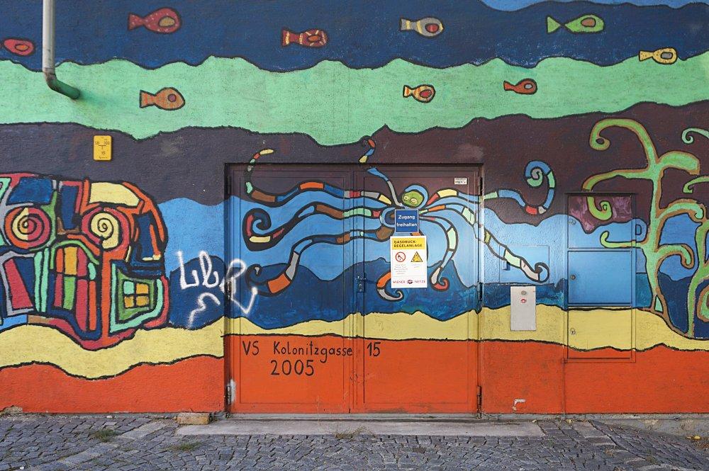 """Bemalte Wand, """"VS Kolonitzgasse 15, 2005"""", Wien-Landstraße"""