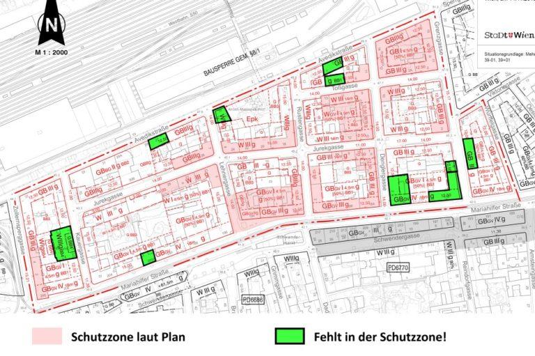 Karte mit Schutzzonen in Rustendorf, Wien, Rudolfsheim-Fünfhaus
