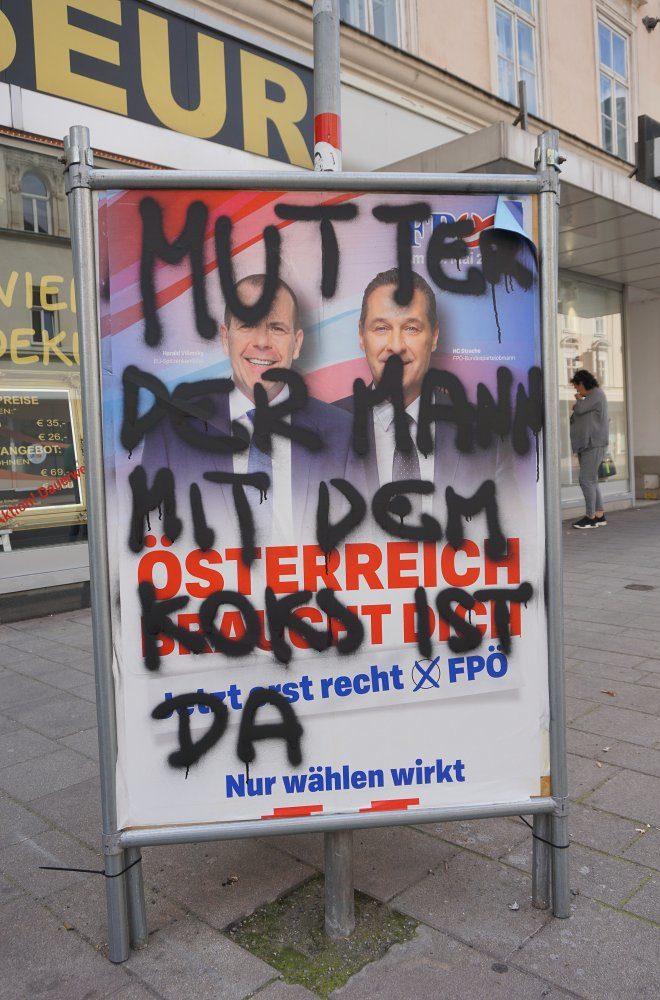 FPÖ-Wahlplaket, EU-Wahl 2019, Graffiti