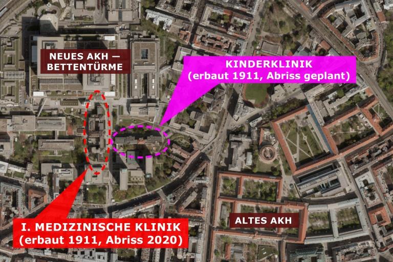 Plan des Wiener AKH, mit eingezeichneter I. Medizinischer Klinik (erbaut 1911, Abriss 2020) und Kinderklinik (erbaut 1911, Abriss geplant)