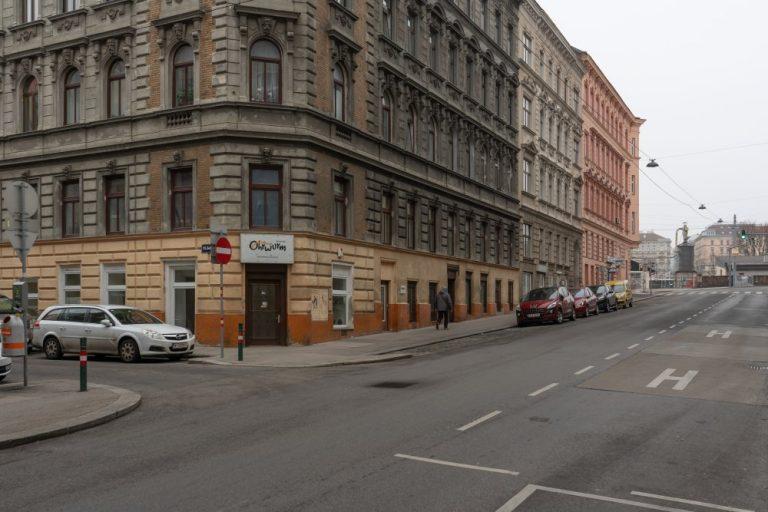 Grenzgasse, Toßgasse, Gründerzeithäuser, Fahrbahn, Wien, Rudolfsheim-Fünfhaus
