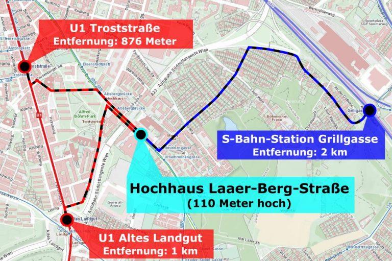 Karte mit Fußwegen, Laaer- Berg, Troststraße, Altes Landgut, Grillgasse
