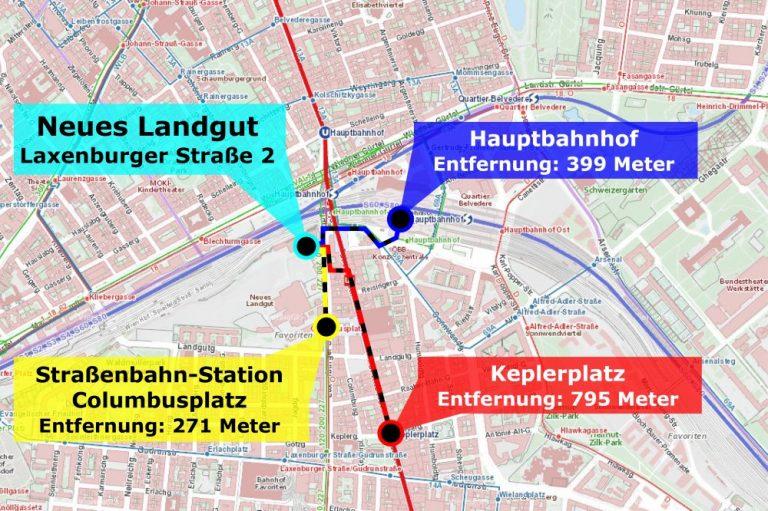 Karte mit Fußwegen, Neues Landgut, Hauptbahnhof, Columbusplatz, Keplerplatz