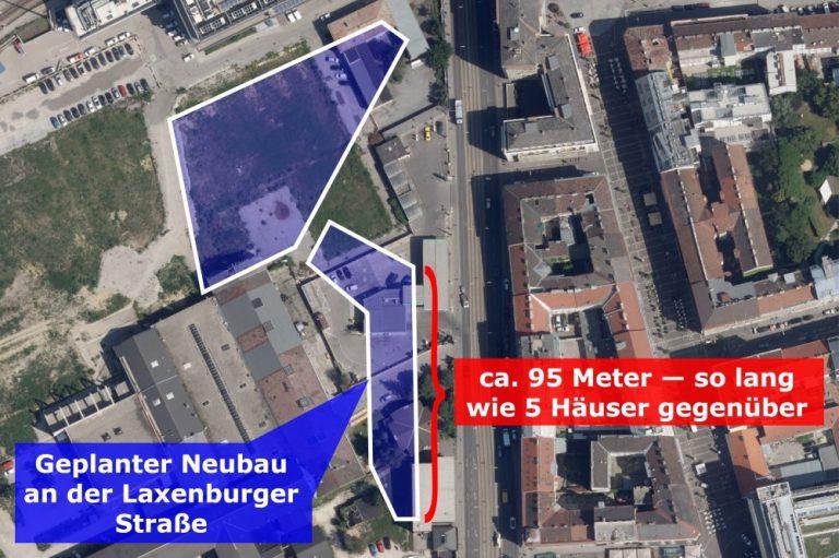 Satellitenbild der Laxenburger Straße, Vergleich der geplanten und vorhandenen Bebauung