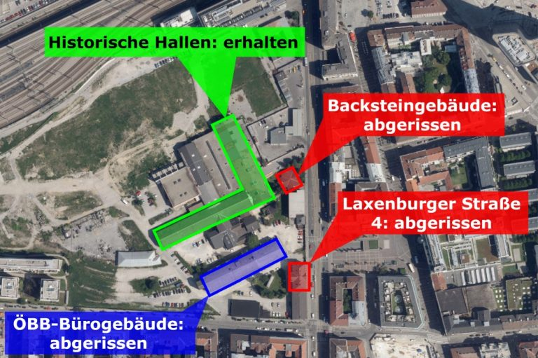 Satellitenbild der Laxenburger Straße, Details zu Abrissen am Neuen Landgut