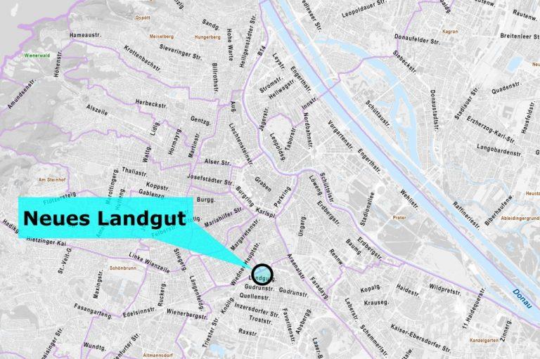 Karte mit Neuem Landgut, Wien