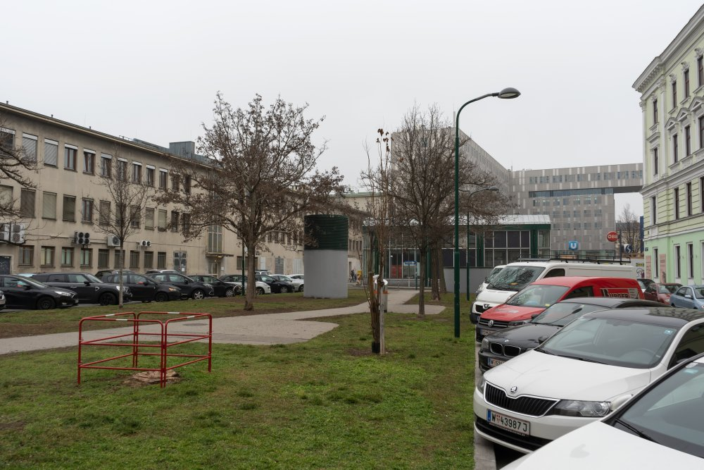 Grünfläche in der Langauergasse (im Hintergrund der Zubau zum Westbahnhof) (Foto: 2020)