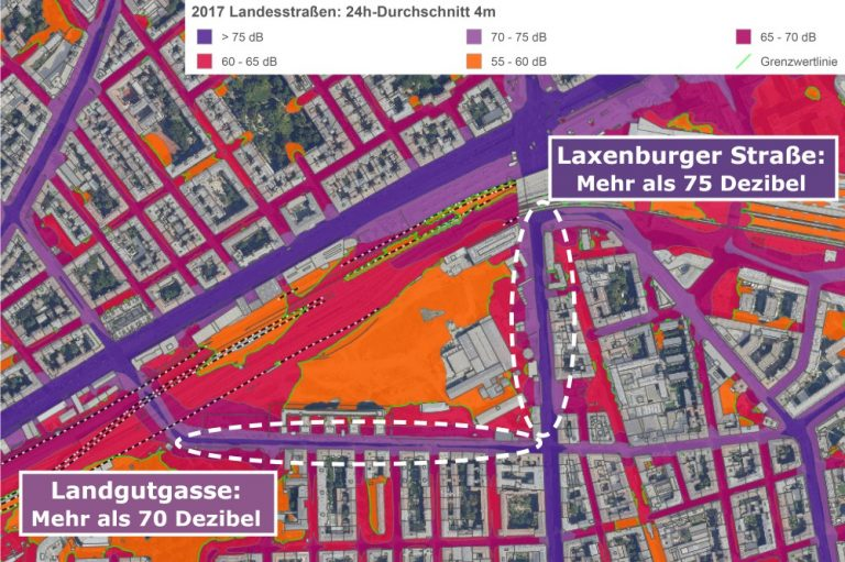 Lärmkarte des nördlichen Favoriten, Laxenburger Straße mehr als 75 Dezibel, Landgutgasse mehr als 70 Dezibel, Wien
