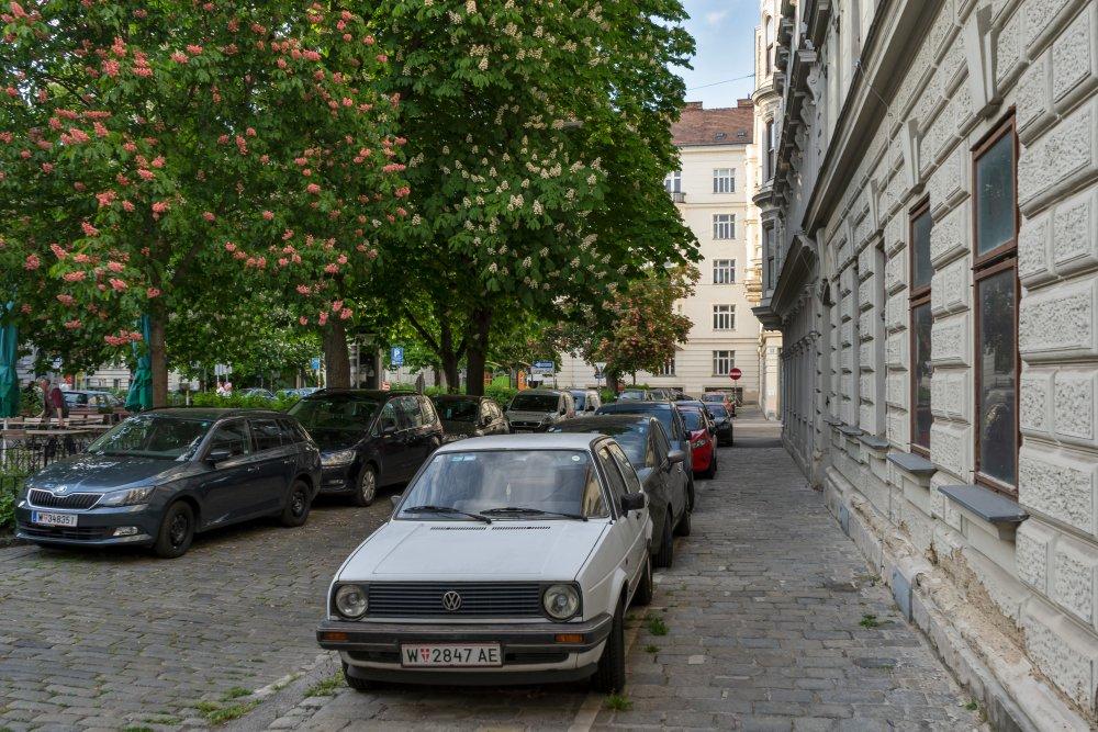 Autos, Kastanienbäume, Pflasterung, Bennoplatz, Josefstadt