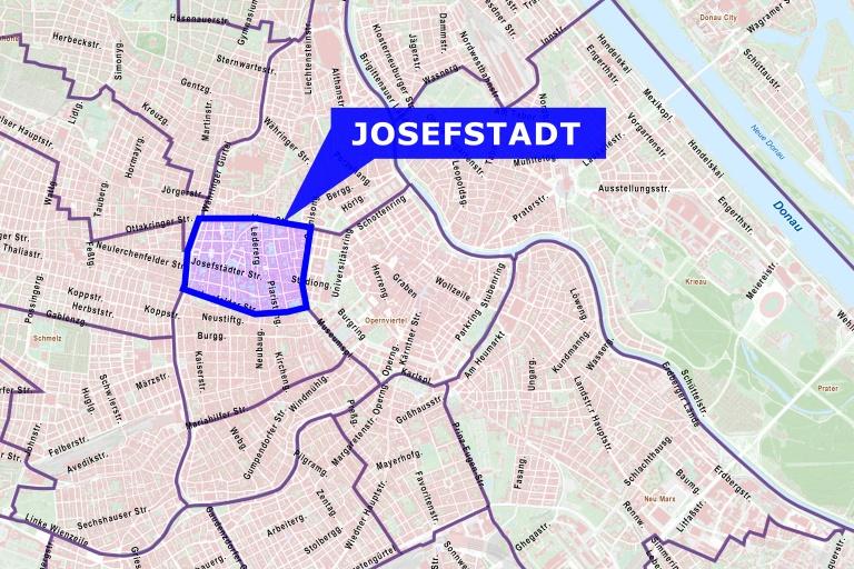 Der 8. Bezirk liegt zwischen Zweierlinie und Gürtel.