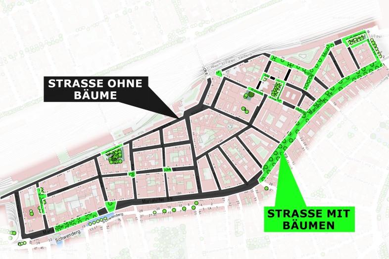 Karte von Rustendorf, 1150 Wien, eingezeichnet sind Straßen mit Bäumen und Straßen ohne Bäume