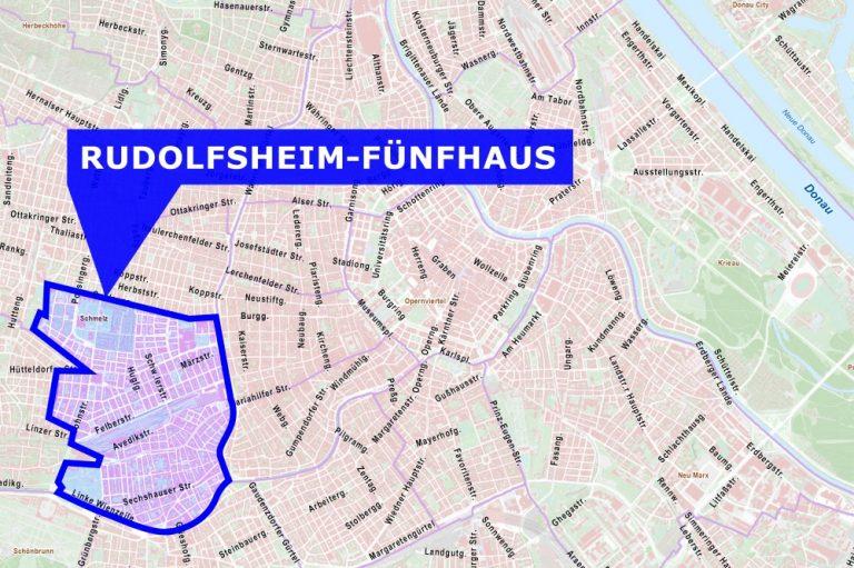 Wien-Karte, Rudolfsheim-Fünfhaus hervorgehoben