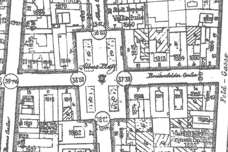 Albertplatz am Stadtplan von 1904, Wien